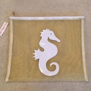 Lolo zip top pouch, new with tags, gold & white